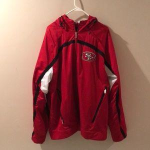 San Francisco 49ers Light Hooded Jacket Size Large